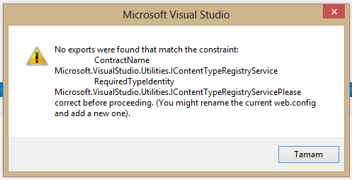 Visual Studio - No exports were found that match the constraint