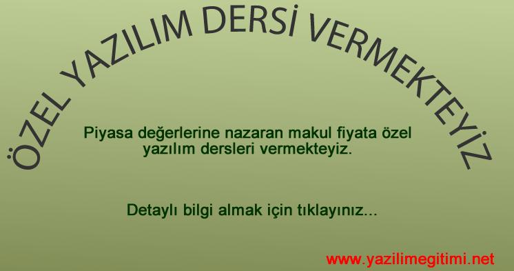Özel Yazılım Dersi | Yazılım Eğitimi Ankara
