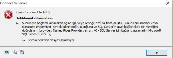 MS SQL Server Cannot Connect To ServerName Hatası