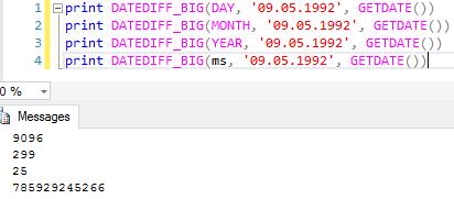 SQL Server 2016 İle DATEDIFF_BIG Fonksiyonu