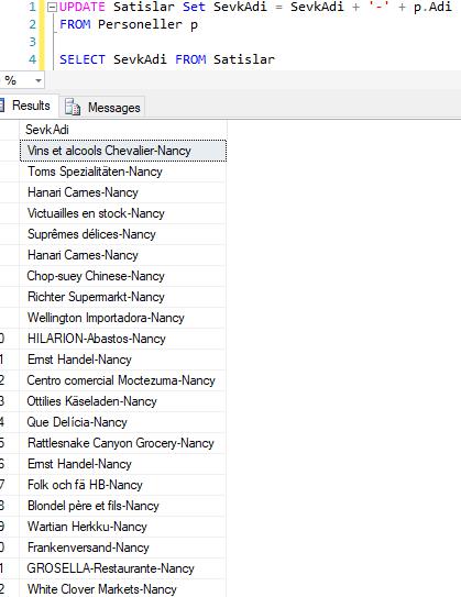 SQL Server - Select Sorgusundaki Verileri Kullanarak Update Gerçekleştirme