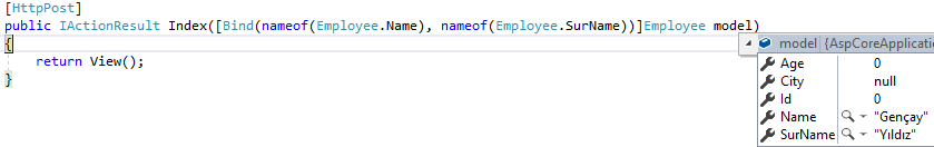 Asp.NET Core 2 MVC'de Bind Attribute İle Post Data Güvenliği