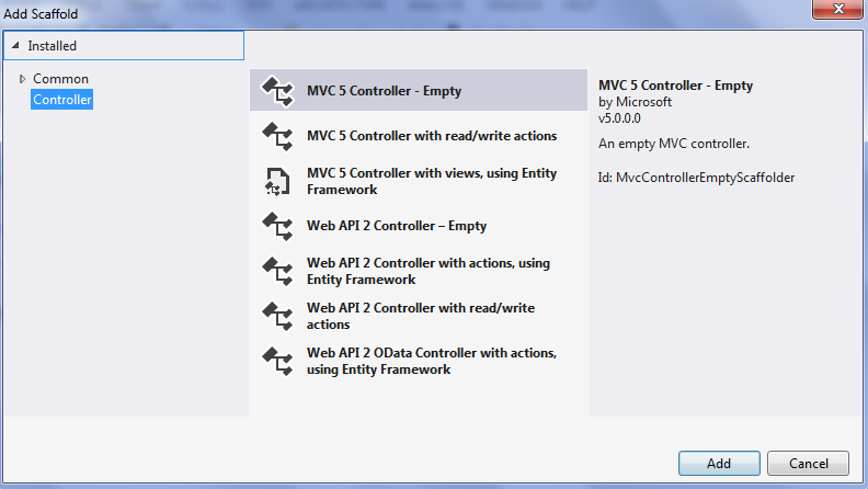 Asp.NET MVC 5 controller ekleme 2