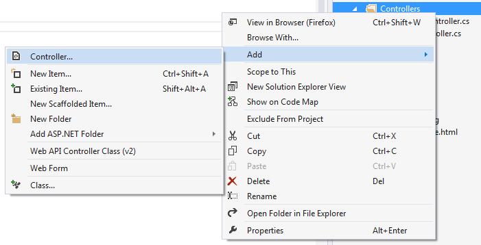 Asp.NET MVC 5 controller ekleme