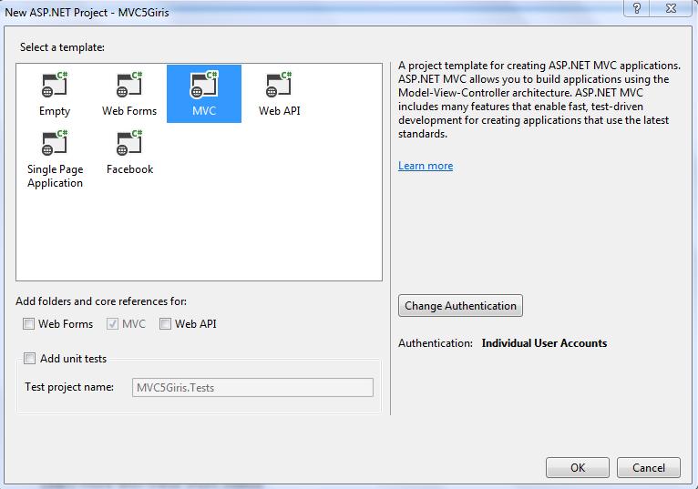 Asp.NET MVC 5 proje oluşturma