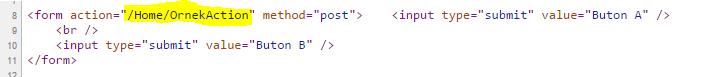 Asp.NET MVC - Tek Form'da Birden Fazla Buton Durumları - 2