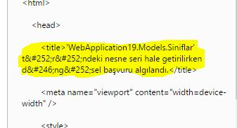 Asp.NET MVC - Türündeki Nesne Seri Hale Getirilirken Döngüsel Başvuru Algılandı