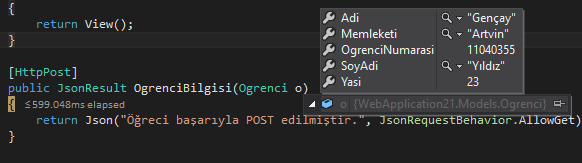 Asp.NET MVC'de Ajax İle JSON Formatında Veri Post Etme