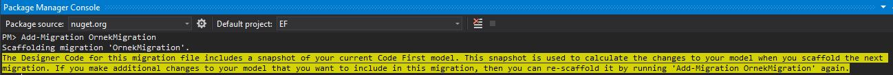 Entity Framework - Code First Migrations İşlemleri