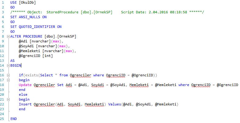 Entity Framework - Code First İle Stored Procedure Oluşturma
