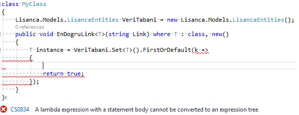 "C#'ta ""A Lambda Expression With A Statement Body Cannot Be Converted To An Expression Tree"" Hatası ve Çözümü"