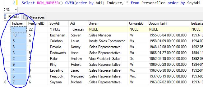 Transact SQL - ROW_NUMBER() Fonksiyonu