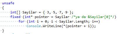 C#'ta Gösterici(Pointer) – Göstericilerde Indexer - X
