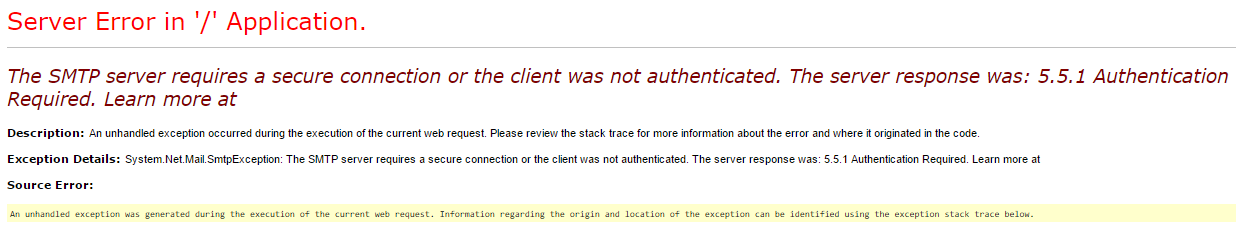 The SMTP Server Requires a Secure Connection or The Client Was Not Authenticated. The Server Response Was 5.5.1 Authentication Required. Learn More At Hatası ve Çözümü