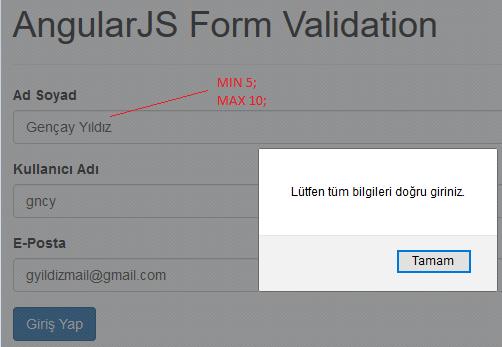 AngularJS'de Validation Kullanımı