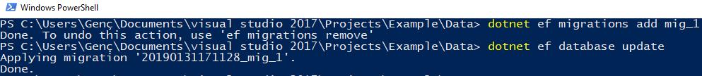 .NET Core - Class Library'de Migration İşlemleri