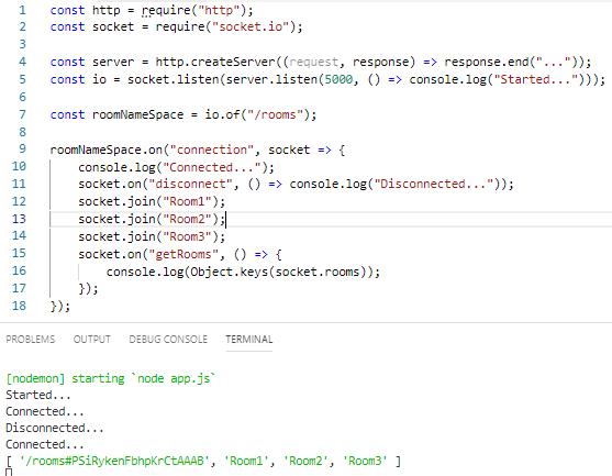 Node.js - Websocket'te Client'ın Girdiği Odaları Liste Olarak Elde Etme