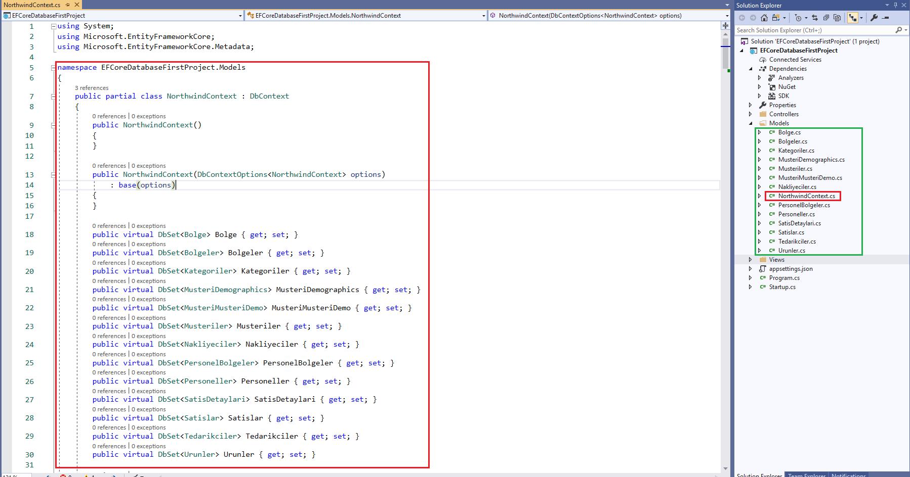 Asp.NET Core Uygulamalarında Database First Yaklaşımı İle Mevcut Veritabanında Çalışma