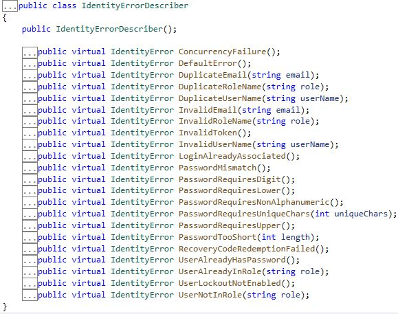 Asp.NET Core Identity - Varsayılan Validasyonların Mesajlarının Özelleştirilmesi - VIII