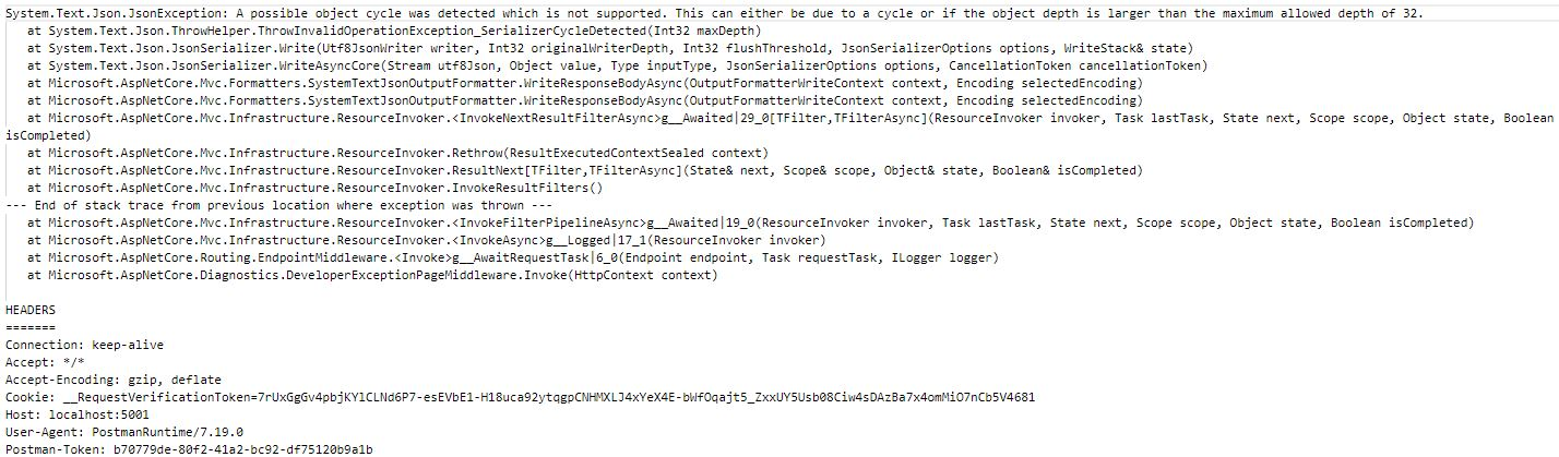 Asp.NET Core 3.0 Web API Mimarisinde A Possible Object Cycle Was Detected Which Is Not Supported Hatası ve Çözümü
