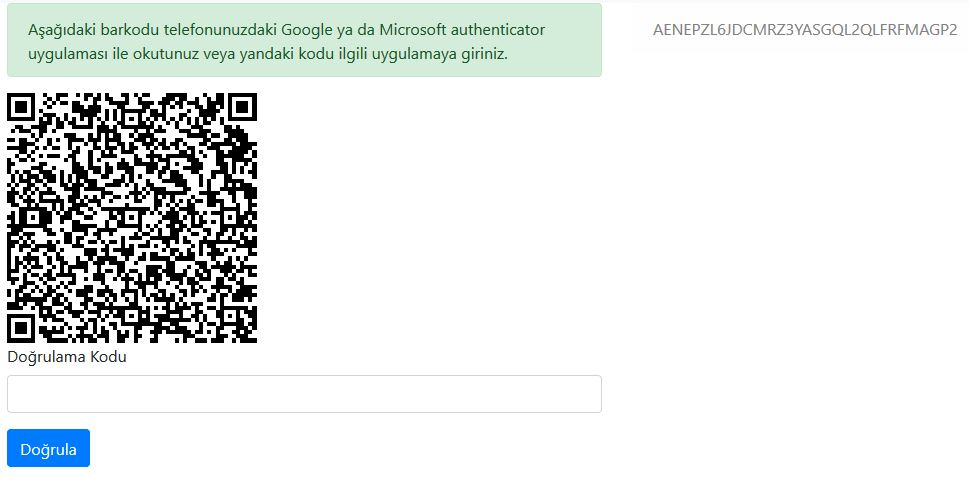 Asp.NET Core - Google & Microsoft Authenticator İle Two Factor Authentication