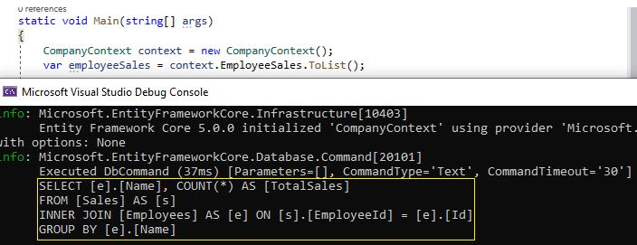 Entity Framework Core - Query Log