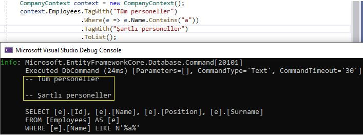 Entity Framework Core - Query Tags