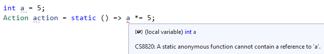 C# 9.0 - Static Anonymous Functions
