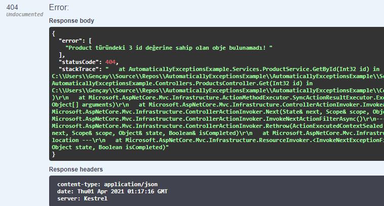 Asp.NET Core'da ki Exception'ları Otomatik Olarak Yönetin